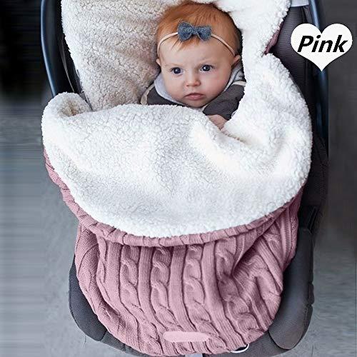 Baby Strick Pucksack für Kinderwagen, Autositz, Schlafsack, universal, Baby Fußsack, Einlage für Kinderwagen, Buggy, Kinderwagen, gemütliche Zehen Autositz Gr. One size, A-Pink