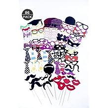 86pz New Year photo booth puntelli baffi occhiali labbra Hat party props kit fai da te per matrimonio, Chiristmas, compleanno, riunioni di famiglia, laurea, addio al nubilato do feste e altre festival e parti