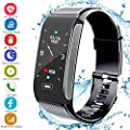 Hocent Fitness Tracker Activity Smart Bracelet Wristband with Pedometer Heart Rate Sleep Monitor Step Calorie Counter Waterproof IP67 Call SMS SNS Remind for Men Women Kids Compatible with Android IOS by Hocent