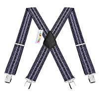 Durable 50MM Wide Elastic and Adjustable Mens Trouser Braces Suspenders X shape with Strong Metal Clips - Heavy Duty (Vintage)