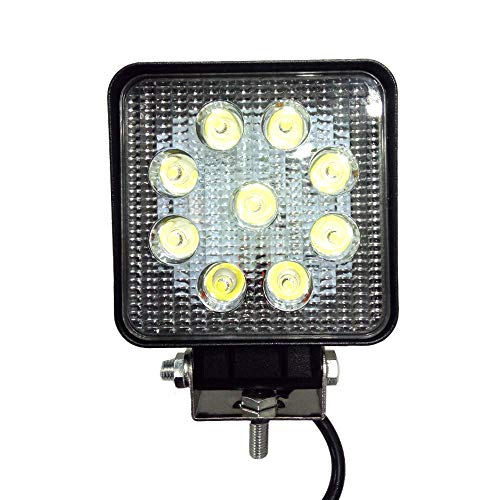 Eidyer LED Faro da lavoro,Quadrato Faretto Led Da Lavoro 27W, lampada da lavoro a LED per auto 10V-30V DC 2700LM Faretto da incasso ad alta potenza Luce bianca fredda 6000K-6500K, IP67