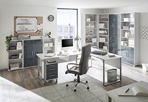 Stella Trading Office Lux Aktenschrank 2trg. , Holzdekor, Korpus: Lichtgrau, Front Glas Graphit Lackiert, 79 x 220 x 35 cm - 2