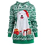 Xmiral Damen Hoodies Sweatshirt Liebhaber Plus Size Weihnachten Hund 3D Print Party Top (4XL,Grün)