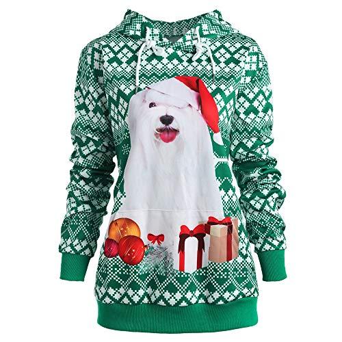 WHSHINE Weihnachten Kapuzenpullover Hund Drucken Paar Kostüm Sweatshirtd Herren Damen Unisex Casual Mode Pullover Sweatshirt 3D Gedruckt Weihnachten Tops(Grün,L)