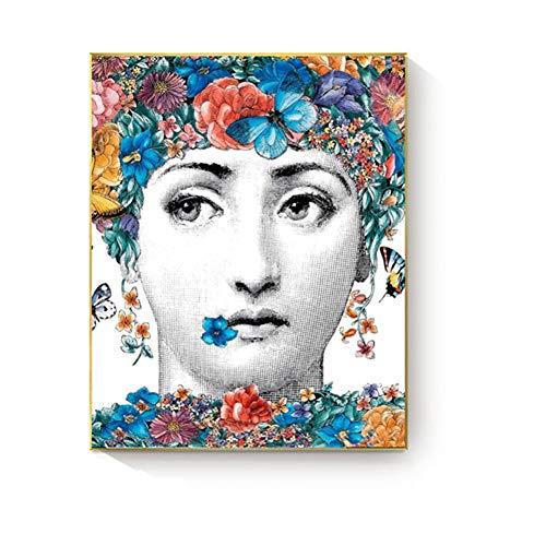SUNNYFOR Fornasetti Wandkunst Malerei Lina Gesicht Poster Und Drucke Leinwand Malerei Dekoration Vintage Retro Dekorative Bild Wohnkultur