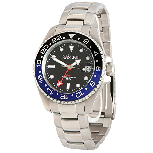Nautec No Limit men's Automatic Watch Analogue Quartz Display and Stainless Steel Strap JKFS-QZ-GMT-STSTBKBL-BK