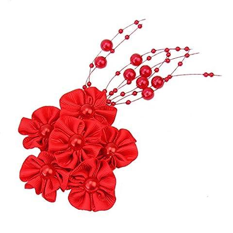 Pearl Beads String Headwear Coiffure de Mariée Mariage Nuptiale Prom Fleur Rouge Faux Pearl Décoration de Cheveux Accessoire Cheveux
