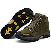 LSYSAG Men Ankle Hiking Boots, Breathable Trekking Shoes, Non-Slip Footwear for All Season Walking, Travelling, Backpacking, Working, Camping, Trekking, Biking Cotton Green 6 UK