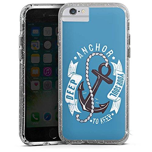 Apple iPhone 6s Bumper Hülle Bumper Case Glitzer Hülle Anker Anchor Seefahrer Bumper Case Glitzer silber