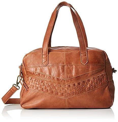 PIECES Pcjimini Leather Bag, Sacs menotte femme, Braun (Mocca), 17x32x53 cm (B x H T)