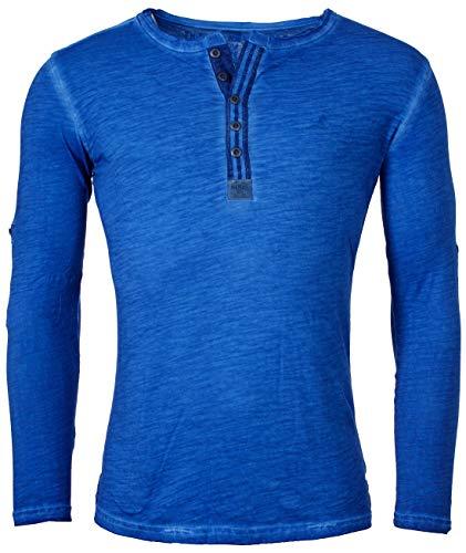 Key Largo Herren Longsleeve Henley Langarm T-Shirt mit Knopfleiste Vintage Look Slimfit MLS00016, Grösse:M;Farbe:Blau -
