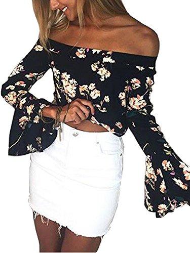 ECOWISH Damen Lange Ärmel Schulterfrei Blumenmuster Locker T Shirt Lässige Oberteil Tops Bluse Schwarz M