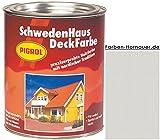 Pigrol Schwedenhaus-Deckfarbe, lichtgrau, 2,5L Wetterschutzfarbe Holzfarbe für aussen
