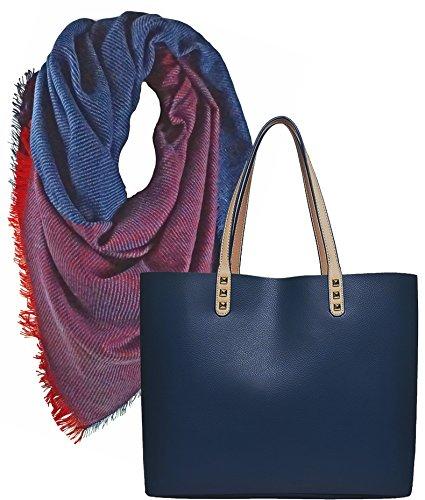 Portogarda Shopper Tasche, City Damenhandtasche, absolut im Trend, als Geschenk- Set. Quadratischer großer Schal mit Fransen weich mit kuschel Charme 140 x140 cm -