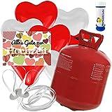 50 Herz Luftballons freie Farbwahl mit Helium Ballon Gas + 50 Weitflugkarten