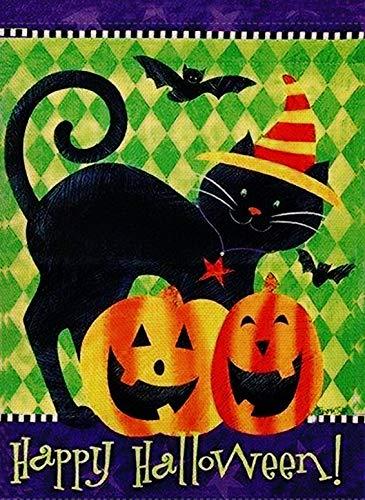 appy Halloween Garten Flagge schwarz Katze doppelseitig Kürbis Zitat Haus Hofflagge rustikal außen lustig Kitty Yard Dekoration Fledermaus Seasonal Outdoor Flagge 12 x 18 Urlaub ()