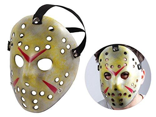 Alsino Jason Maske Horrormaske Erwachsene Kopfband Kunststoff Gold Gelb Mas-62