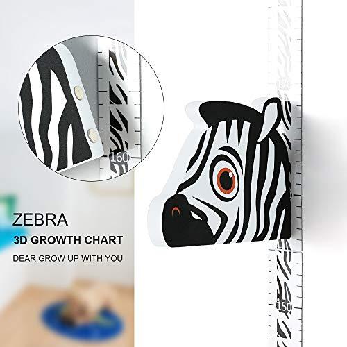 Wopeite Righello 3D per Controllo Altezza con Testa di Zebra per Segnare l¡¯Altezza Righello Portatile Da Scrivere Rimovibile Disegni per il Muro della Stanza dei Bambini