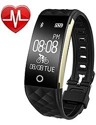 Fitness Armband, AsiaLONG IP67 Wasserdicht Uhr Schrittzähler Fitness Tracker mit Herzfrequenz, Schlafmonitor, Mehrere Sport-Modus, Vibrationsalarm Anruf SMS Whatsapp für iOS/Android Phone