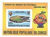 FC Barcelona de fútbol españoles hoja de sellos miniatura imperforado de la Copa Mundial de 1982 con el logotipo de Espana 1982 / Congo / 1982 - Stampbank - amazon.es