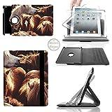 Grupo de ponis islandeses rotar 360 pixfab para iPad 2 3 4 mini awenta, y Samsung Galaxy Note marrón Apple iPad Mini 1 Rotary Cover