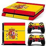 PlayStation 4 Designfolie Sticker Skin Set für Konsole + 2 Controller - Flagge Spanien