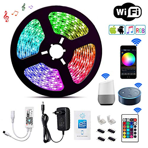 Wlife Wifi Led Streifen, 5m RGB Dimmar Led Stripes Controller mit Alexa,Google Home,IFTTT, Wireless Smart Phone Gesteuert Full Kit, IP65 Wasserdichte, SMD 5050 16 Millionen Farben,12V 3A Netzteil