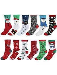 Vertvie Unisex 12 Paire Chaussettes Noël en Coton Imprimé Motif Fantaisie Socquettes Socks Respirant Doux Hiver