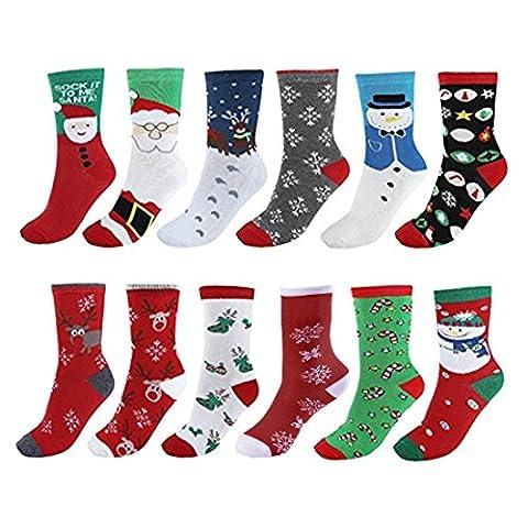 Vertvie Unisex 12 Paire Chaussettes Noël en Coton Imprimé Motif Fantaisie Socquettes Socks Respirant Doux Hiver (Taille Unique, 12 Couleurs Mixtes)