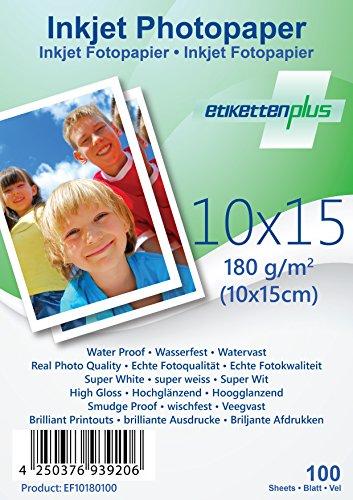 EtikettenPlus Ltd Fotopapier, 100 Blatt, EF10180100, 10x15 cm 180g/qm glänzend (glossy), wasserfest, sofort wischfest für alle Tinten- und Fotodrucker