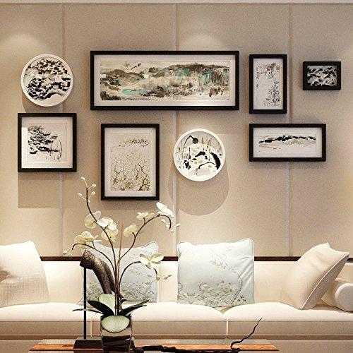 HJKY Photo Frame Wall Set Massivholz Wohnzimmer Wand Bilder über Creative Brief Fotowand mit großem Rahmen Wohnwand 8 Box Kombination (ohne Bild)