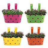 #10: Nuha 12.5 Inch Railing Planter Set of 4 - Polka Dots, Railing Planter, Flower Pot, Wall Planter, Metal Planter, Balcony, Garden Planter