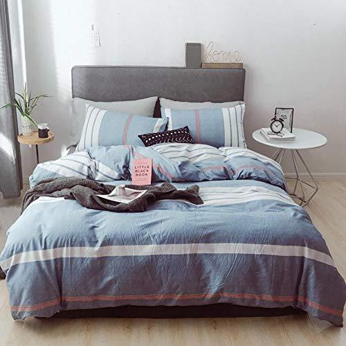 WANGPIPI Bettwäsche-Set King Size 4 Teilig Streifen Baumwolle Einfach AB-Version Persönlichkeit Modeserie Aktives Drucken Atmungsaktiv Hautsympathisch Eleganten, Blue, 1.5m/1.8m Bed -