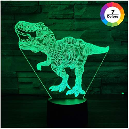 Dinosaurier Spielzeug, T Rex 3D Nachtlicht 7 Farben Ändern Nachtlichter für Kinder mit Smart Touch, T Rex Geburtstagsgeschenke für Jungen Alter 2 3 4 5 6+ Jahre alter Junge Geschenke - Für Kinder Dinosaurier-spielzeug