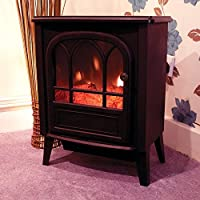 Garden Mile® Portable 1.8Kw Black Log Burner Electric Fire Stove, Free Standing Realistic Flame Effect Insert Fire Room Heater Wood Burner 2 Heat Settings