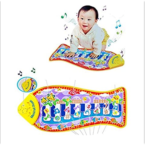Alfombra Manta Piano Música para niños,Toque la diversión del juego del juguete ,en forma de pez