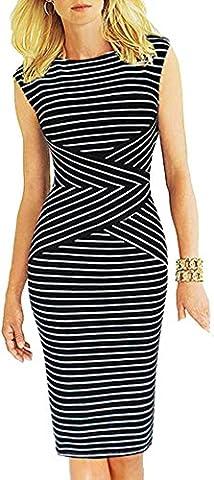 Bestfort Damen Ohne Arm Elegant Kleid Etuikleid O-Ausschnitt Business Stretch Partykleid Reißverschluss Streifen Cocktail Figurbetontes Knielang Die Taille