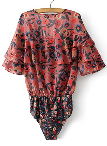ACHICGIRL Women's V Neck Short Sleeve Floral Printed Ruffle Bodysuit red