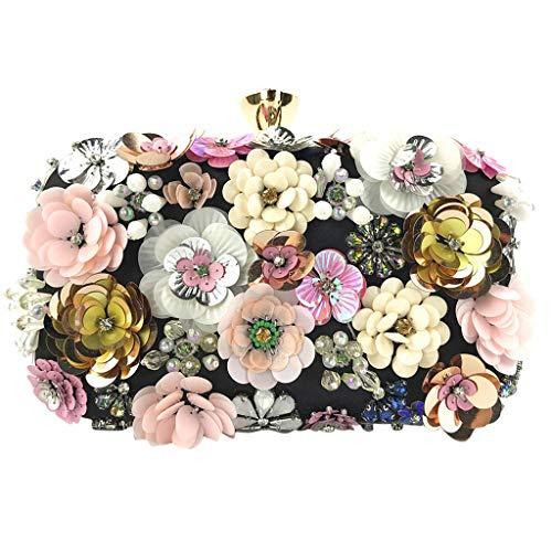 Deloito Damen Blumen Schmuck Kupplungen Handgemacht Kette Clutch Tasche Abendtasche Hochzeit Umhängetaschen Bankett Party Handtasche (Schwarz) -