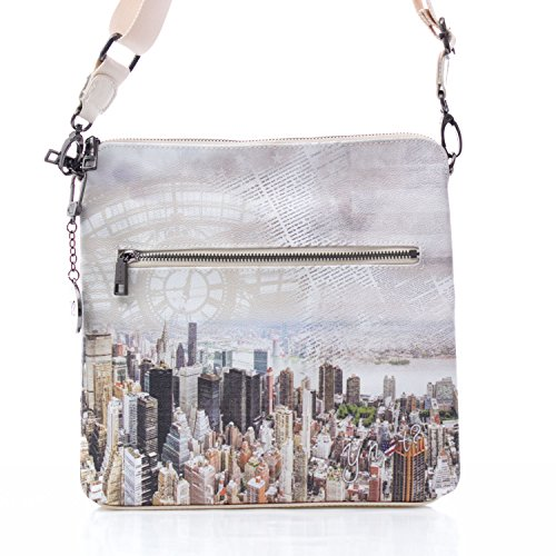 Beige Y donna York New NOT Borsa Manhattan tracolla h316 Hwrqwx0t