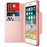 Maxboost iPhone 8 Plus Wallet Case [Folio Style] [Stand Feature] mWallet Apple iPhone 8 Plus /iPhone 7 Plus [Rose Gold] Protective Credit Card Leather Cover [Card Slot+Side Pocket] Magnetic Closure
