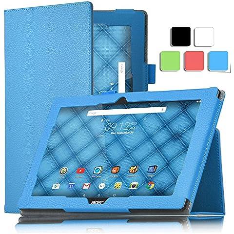 ELTD Acer Iconia One 10 B3-A10 cover, Book-style Funda de piel de cuerpo entero para Acer Iconia One 10 B3-A10 con la función, Azul