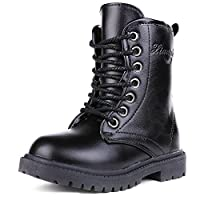 UBELLA Unisex Boys Girls Leather Side Zipper Lace-Up Mid Calf Martin Boots black Size: 2M US Little Kid