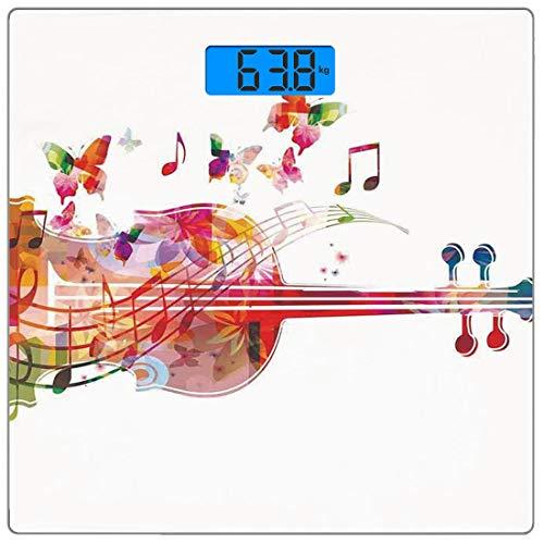 Digitale Präzisionswaage für das Körpergewicht Platz Musik-Dekor Ultra dünne ausgeglichenes Glas-Badezimmerwaage-genaue Gewichts-Maße,Violoncello mit Schmetterlingen Festliches sommerliches Blüten-glü