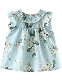 Wanshop Baby Dresses, Kids Baby Cute Summer Sleeveless Sleeveless Flower Dresses Clothes Toddler Summer Party Princess Dresses Mini Dress Outfits