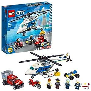 LEGO City Police - Policía: Persecución en Helicóptero, juguete de construcción a partir de 5 años, contiene un imán para atrapar objetos magnéticos, un camión de fuga y una moto, Novedad 2020 (60243)