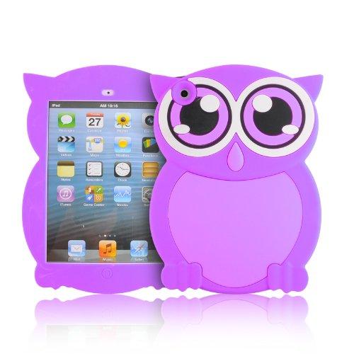 JAMMYLIZARD iPad Mini Kinder Hülle Kinderfreundliche Silikonhülle [ Eule ] Kids Case Cover Stossfeste Kinderschutzhülle aus Silikon TPU für Apple iPad Mini 3. 2. und 1. Generation, Lila (Ipad 3 Cover Lila)