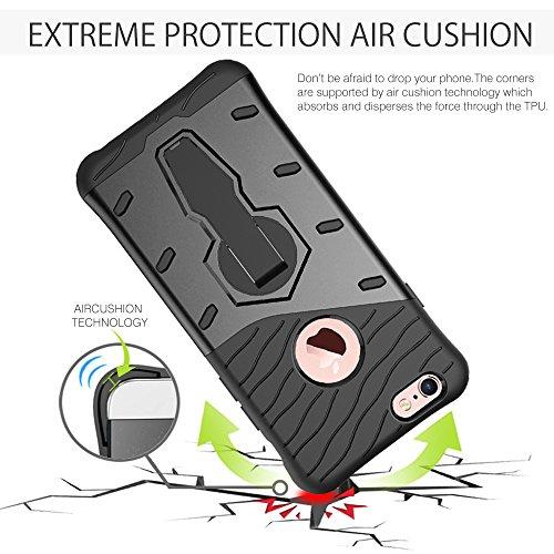 Fogeek iPhone 6 Hülle : Luftpolster-Technologie und Guten Rundumschutz Hülle Drop Resistance Handys Schutz Hülle mit Ständer für iPhone 6/6s (Rot) Schwarz