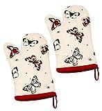 Lashuma Ofenhandschuh 2er Set | Topflappenhandschuhe für Damenhände | Doppelpack Grillhandschuh klein | Küchenhandschuhe 27 x 18 cm