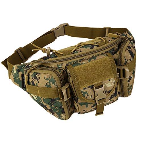 Imagen de huntvp bolsa de riñonera  de bandolera 2 vías de llevar estilo militar táctical bolsa de múltiple función impermeable para aire libre correr senderismo ciclismo camping